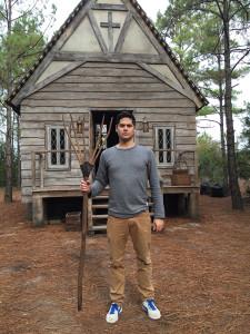 """Ryan Garton on the set of """"Sleepy Hollow."""""""