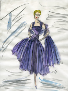 """Sketch by designer Edith Head for a costume for Rosemary Clooney for """"White Christmas."""""""